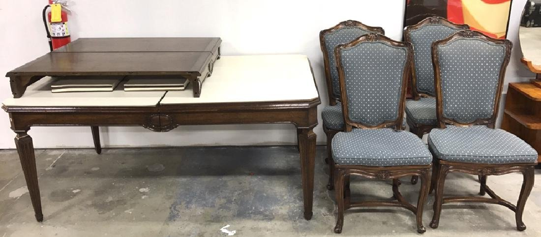 Wood Dining Table 2 Leaves & 4 Chairs