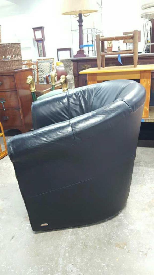 Italsofa Leather Arm Chair & Footrest - 5