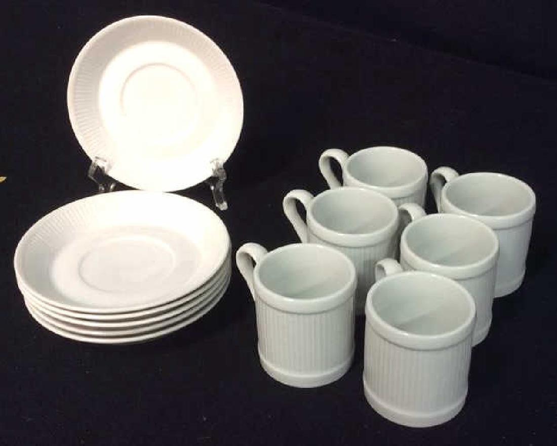 Set Of 6 White Ceramic Espresso Cups & Saucers