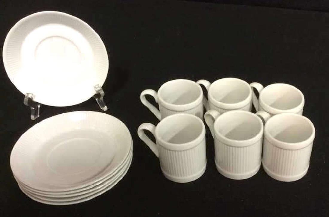 Set Of 6 White Ceramic Espresso Cups & Saucers - 2