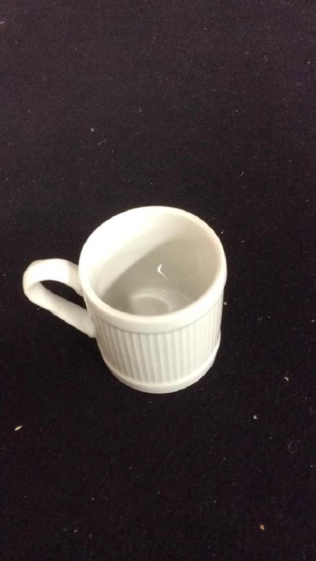 Set Of 6 White Ceramic Espresso Cups & Saucers - 3