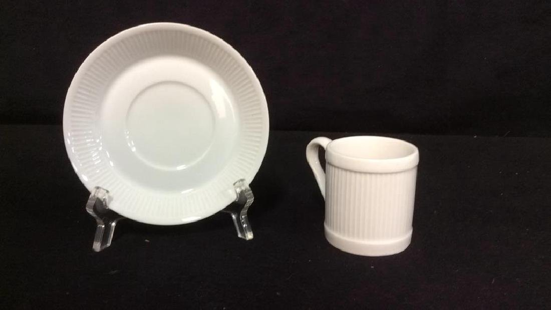 Set Of 6 White Ceramic Espresso Cups & Saucers - 7