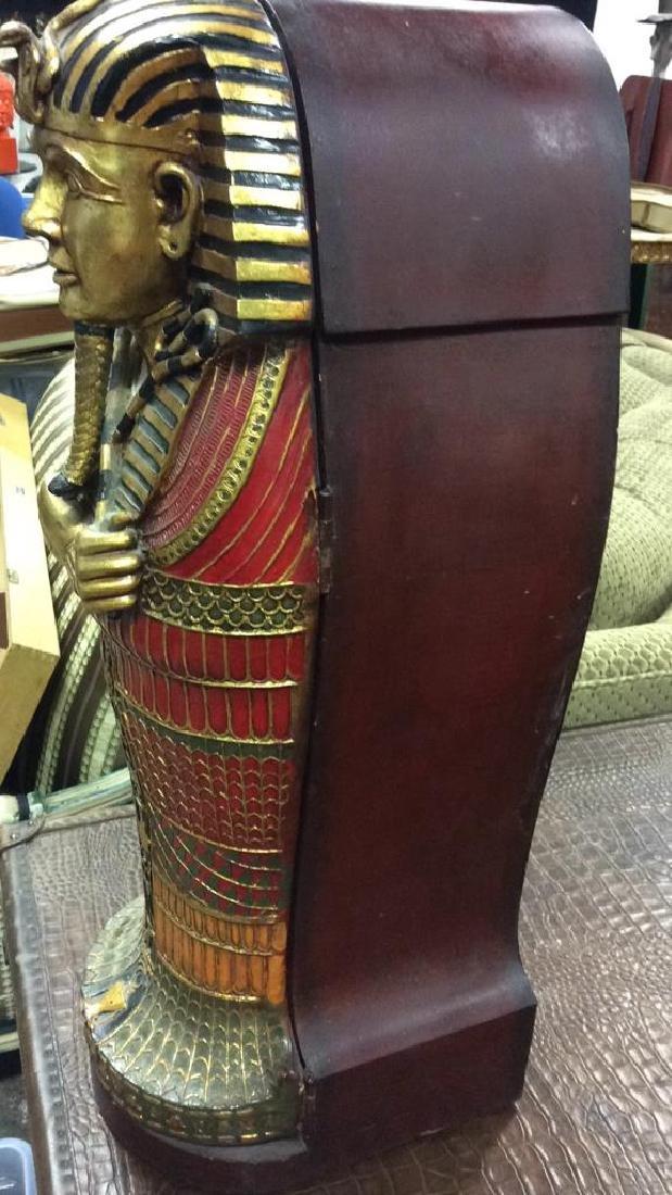 King Tut Painted Wood Cabinet - 5