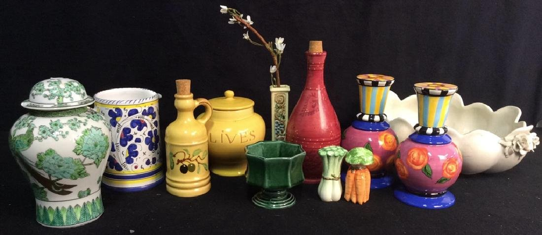 Pottery Group Lot Asian, Vintage, Italy, Portugal