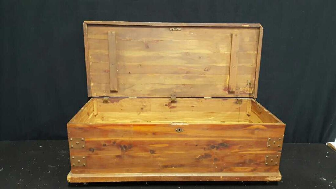 Antique Wood Chest - 6