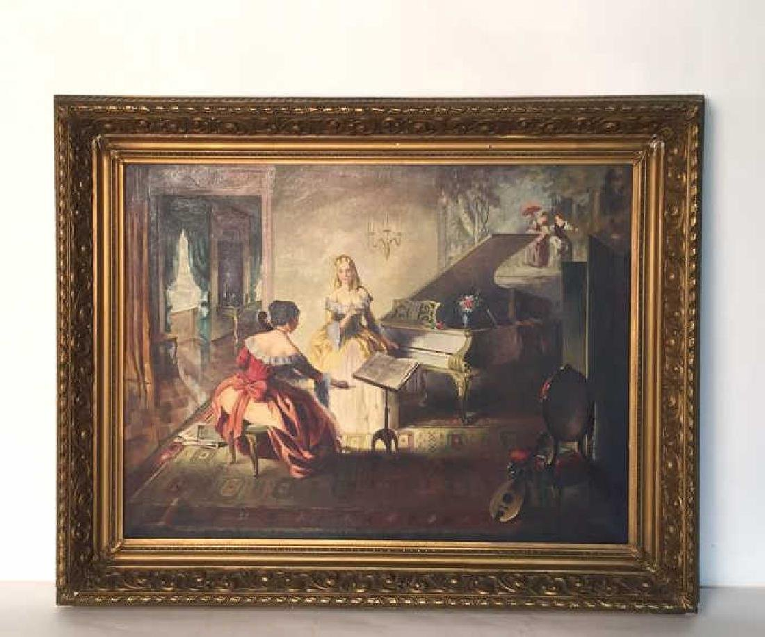 A. SHAPIRO Large Oil Painting & Gilt Frame