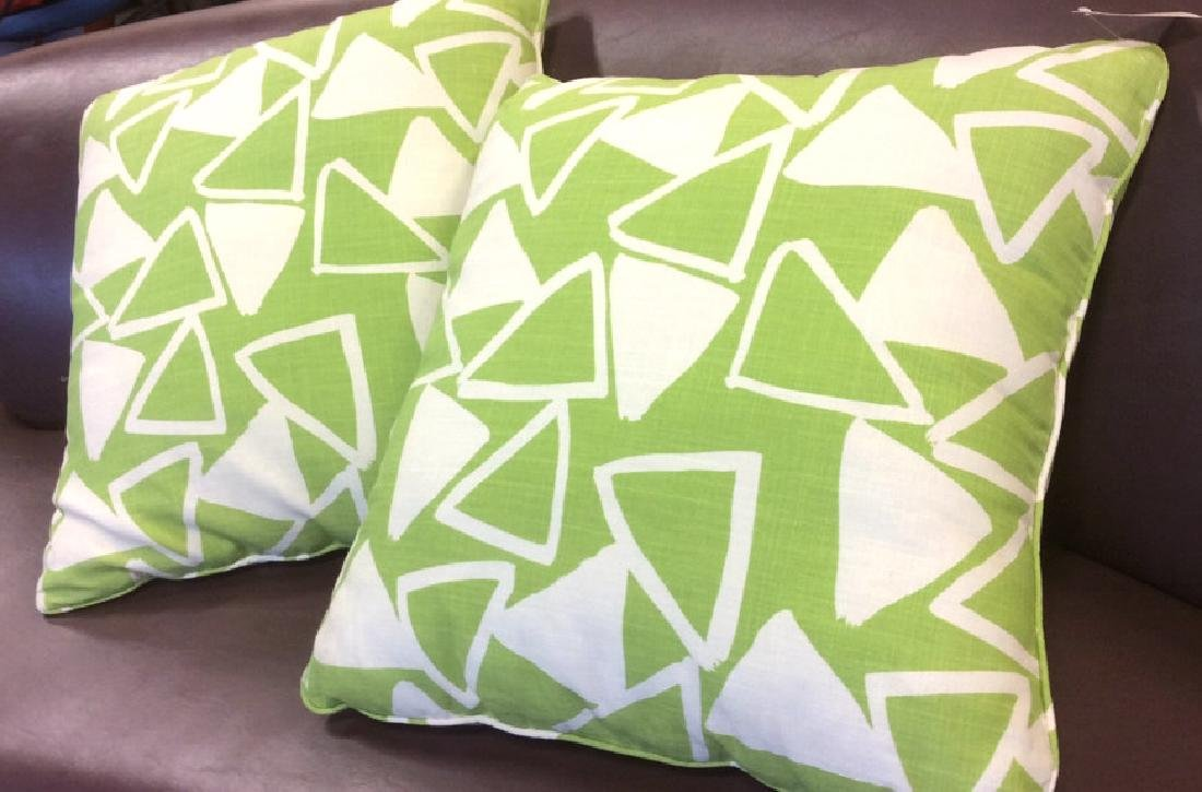 Pair Lime Green White Designer Throw Pillows