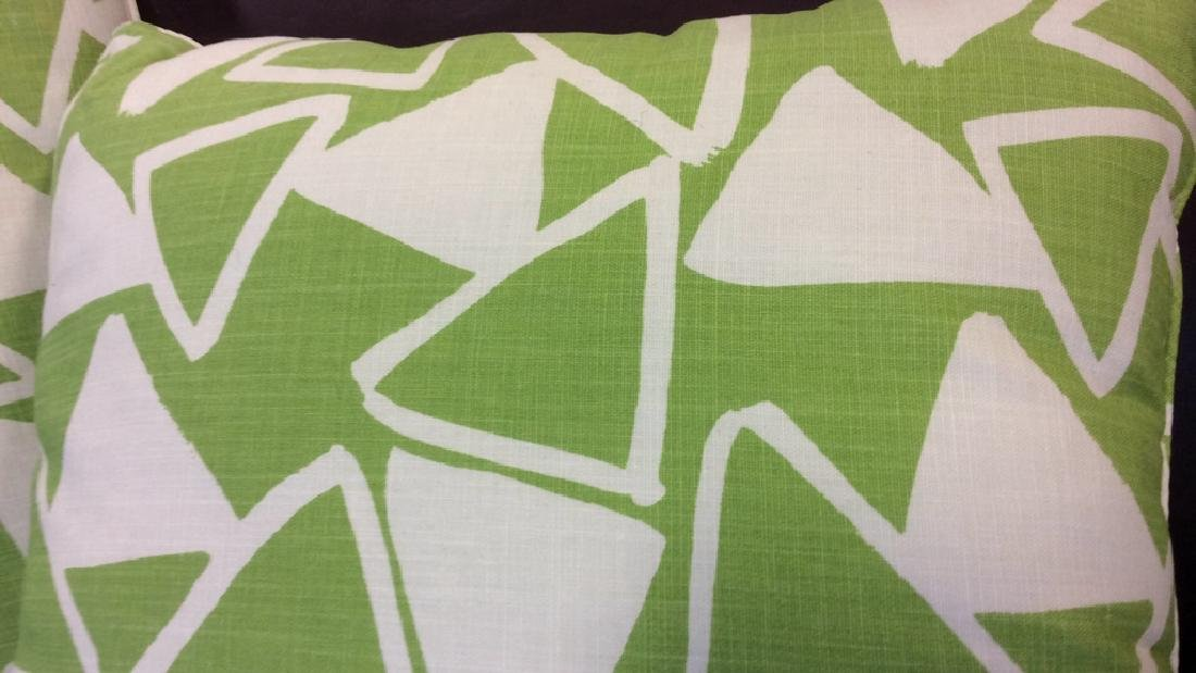 Pair Lime Green White Designer Throw Pillows - 3
