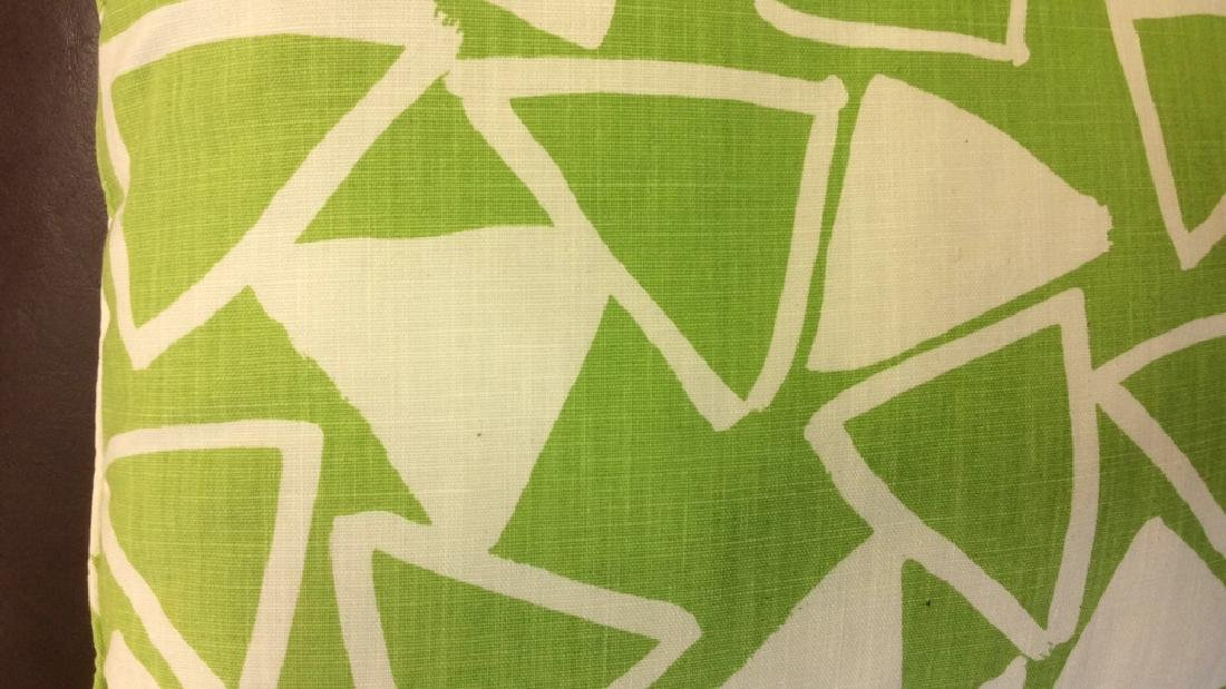 Pair Lime Green White Designer Throw Pillows - 4