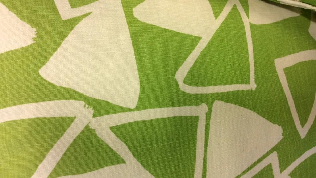 Pair Lime Green White Designer Throw Pillows - 5