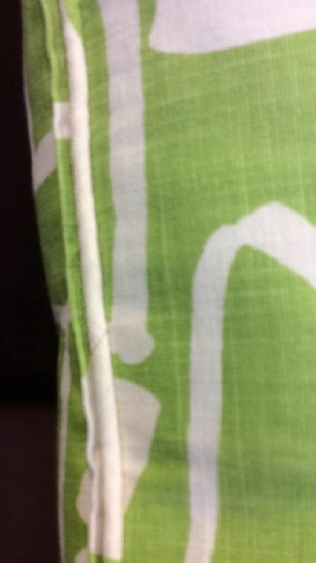 Pair Lime Green White Designer Throw Pillows - 6