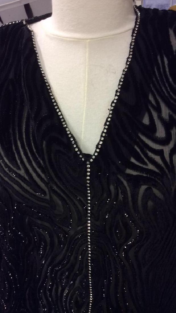 Vintage Black Sequin Sheer Cut Velvet Dress - 10