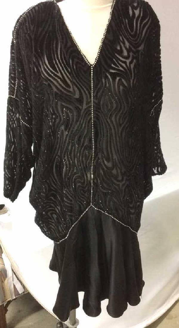 Vintage Black Sequin Sheer Cut Velvet Dress