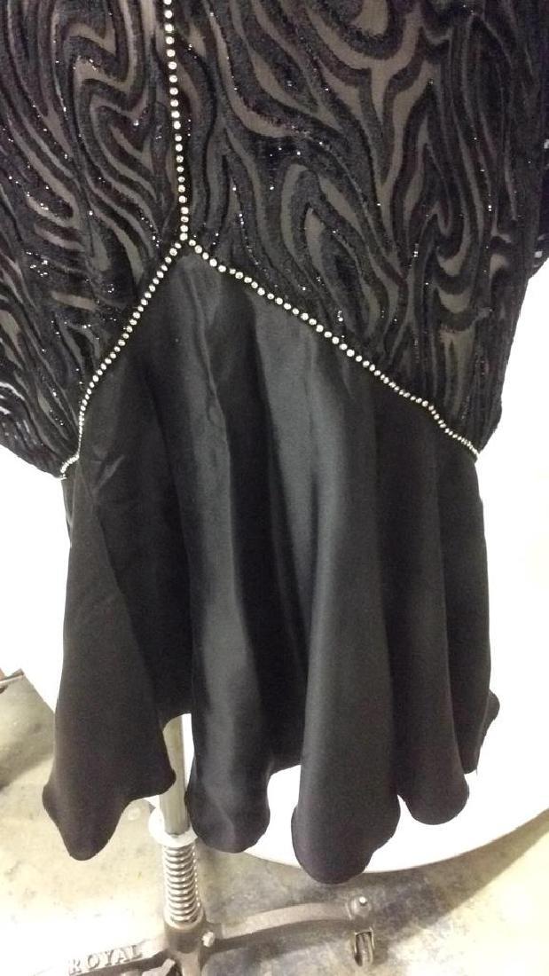Vintage Black Sequin Sheer Cut Velvet Dress - 2