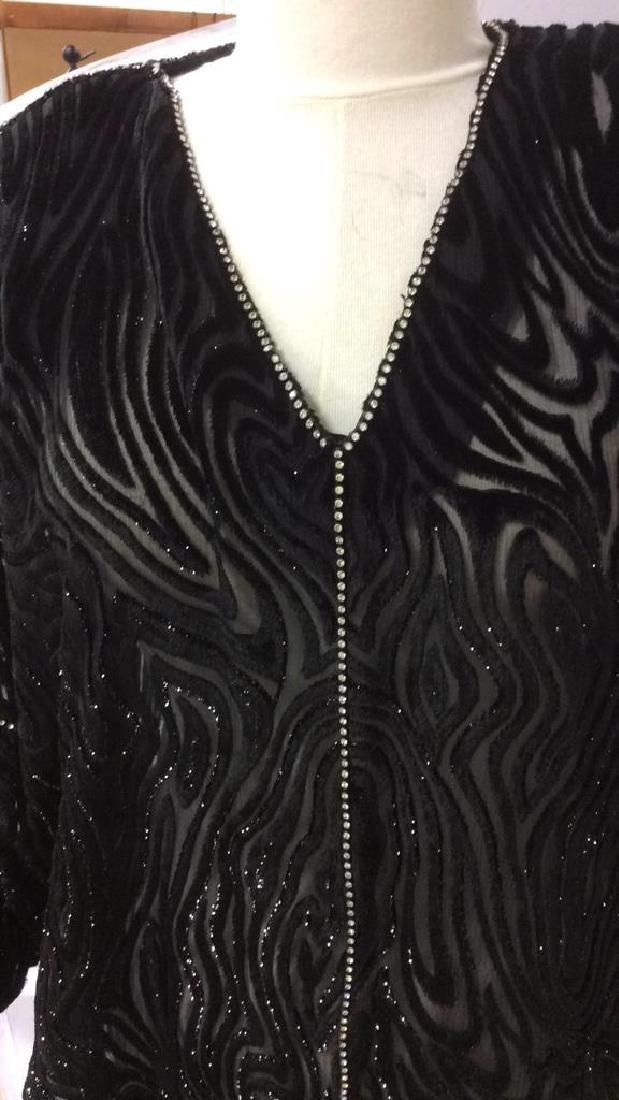 Vintage Black Sequin Sheer Cut Velvet Dress - 4