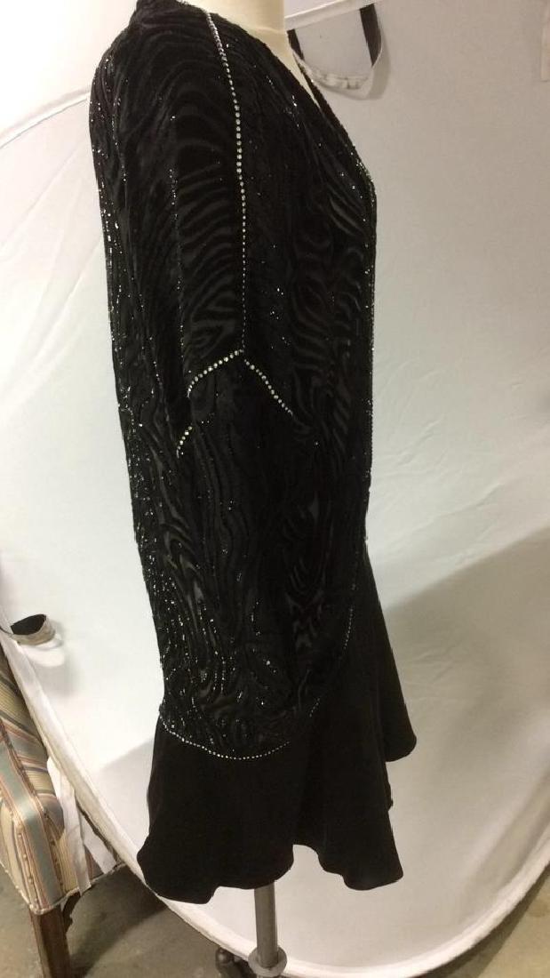 Vintage Black Sequin Sheer Cut Velvet Dress - 5