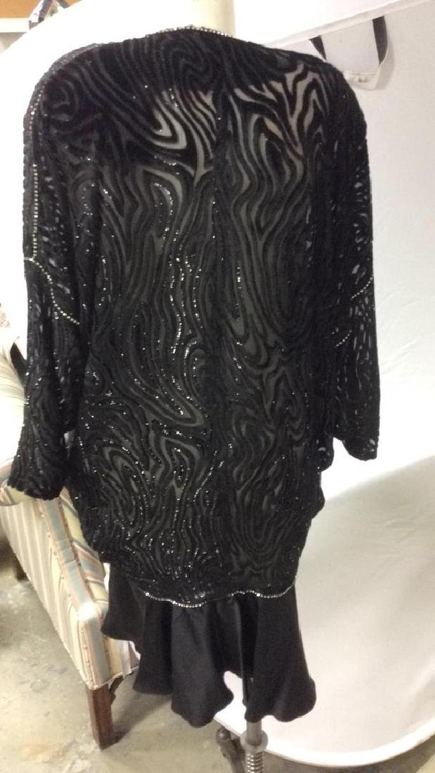 Vintage Black Sequin Sheer Cut Velvet Dress - 7