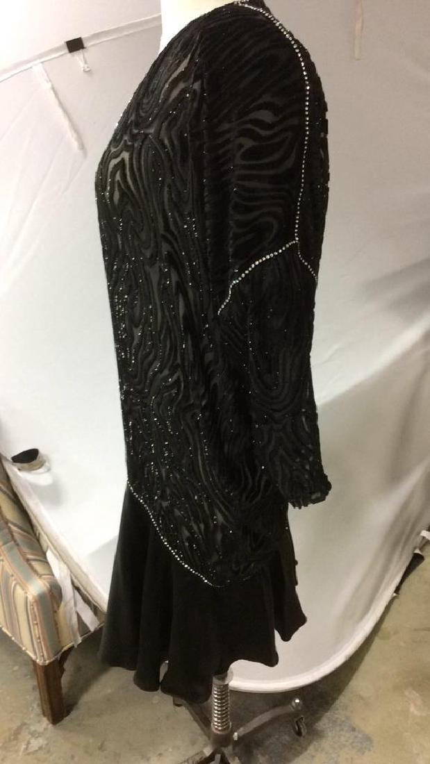 Vintage Black Sequin Sheer Cut Velvet Dress - 9