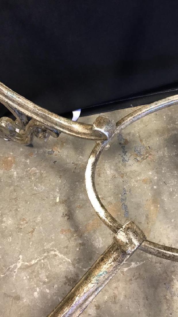 Glass Top Table & Scrolling Metal Base - 10