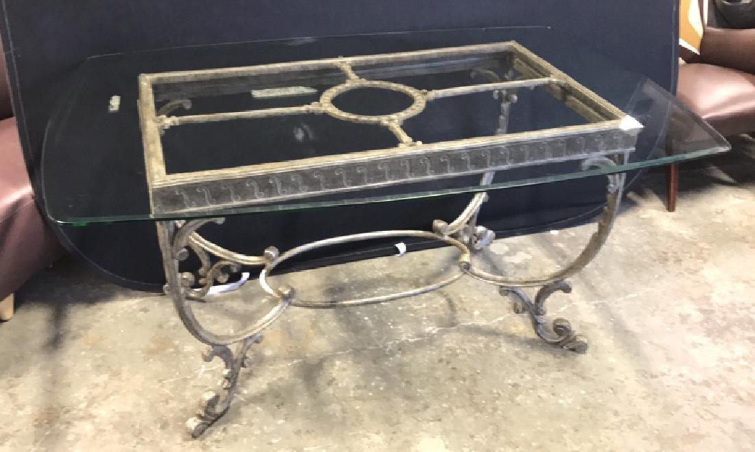 Glass Top Table & Scrolling Metal Base