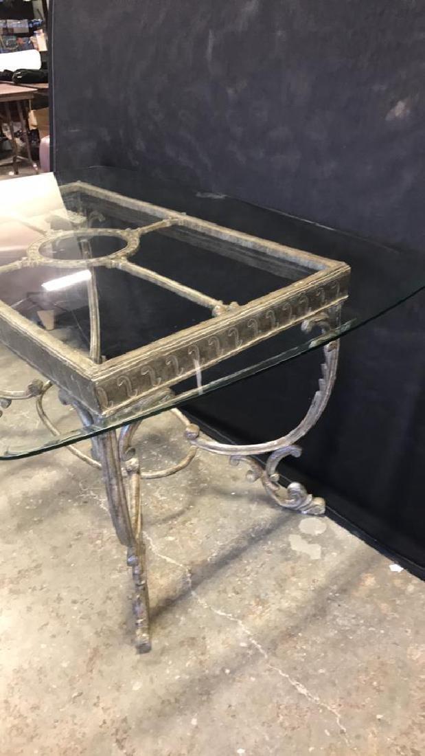 Glass Top Table & Scrolling Metal Base - 4