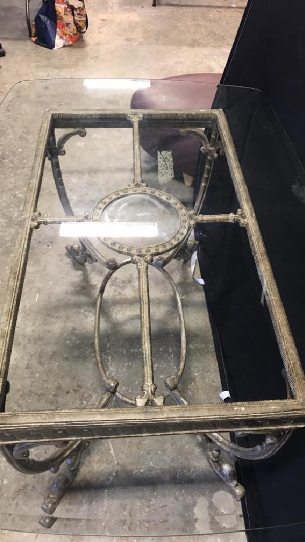 Glass Top Table & Scrolling Metal Base - 5