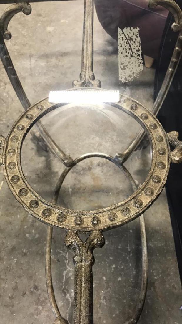 Glass Top Table & Scrolling Metal Base - 6