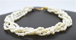 Five Strand Twist Natural Seed Pearl Bracelet