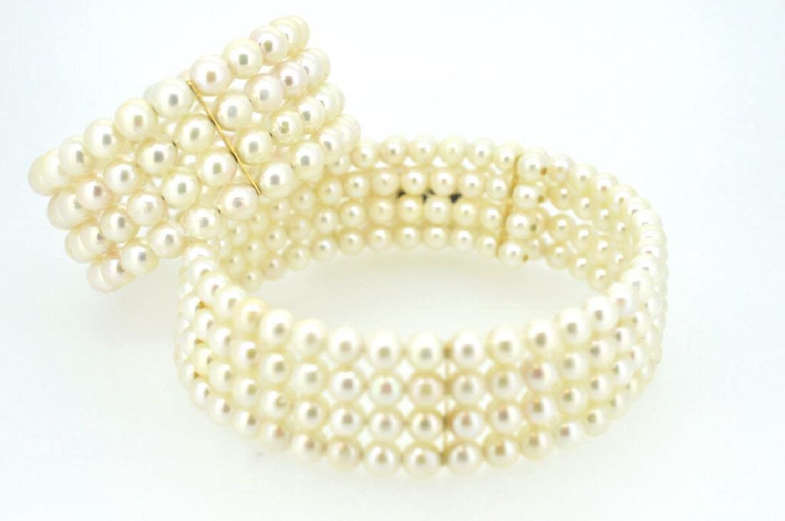 Lustrous Natural  Pearl & 14K Gold Choker & Cuff