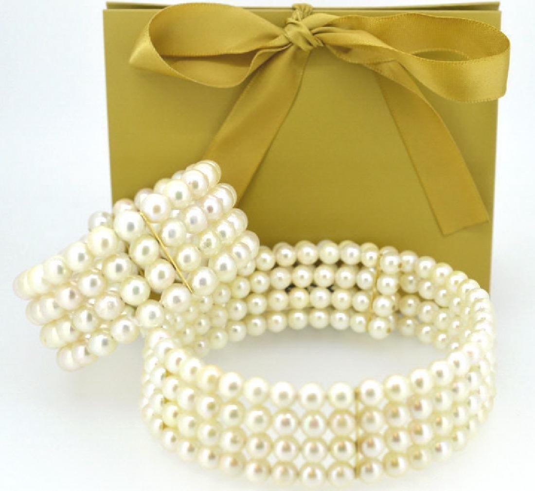 Lustrous Natural  Pearl & 14K Gold Choker & Cuff - 2