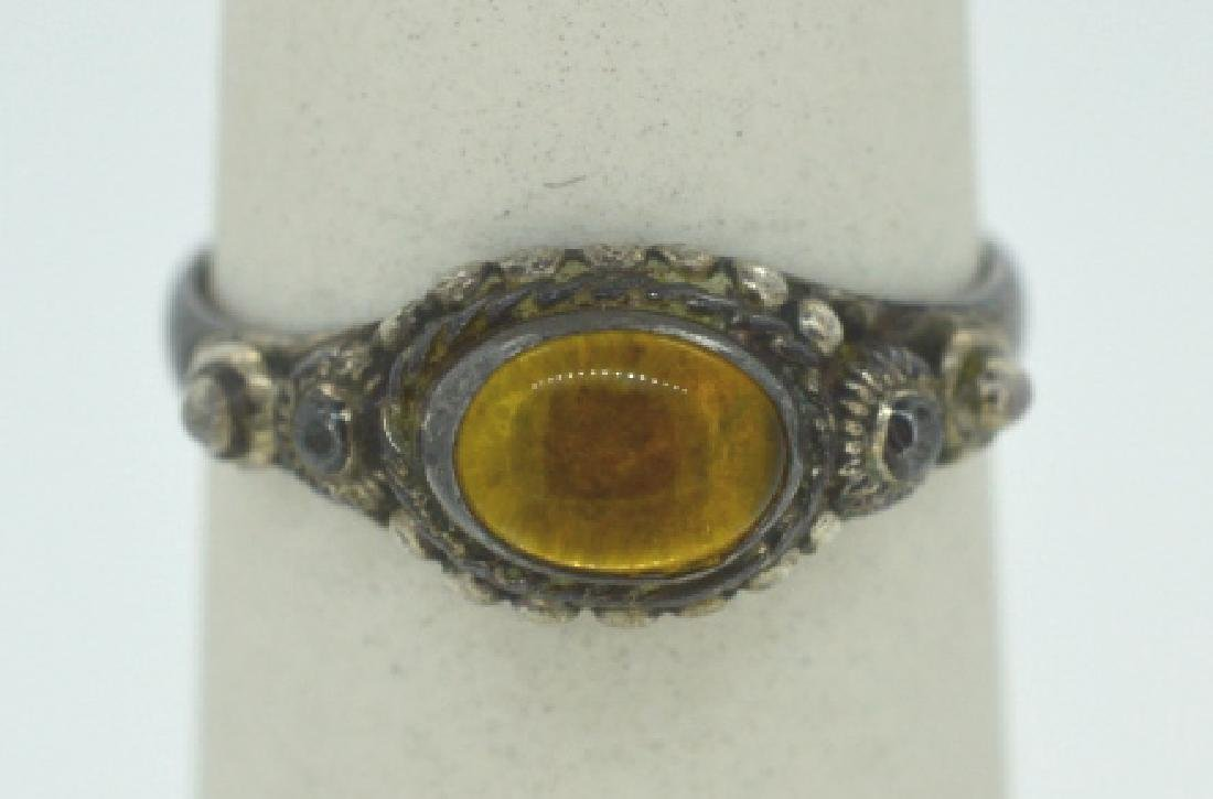 Vintage Silver Ring With Yellow Stone Size 6 1/4