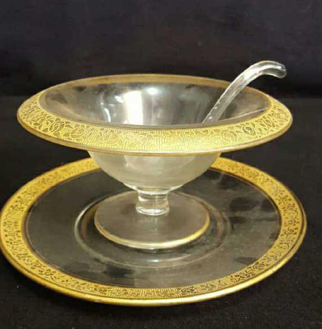 Gold Trim Serving Bowl and Dish