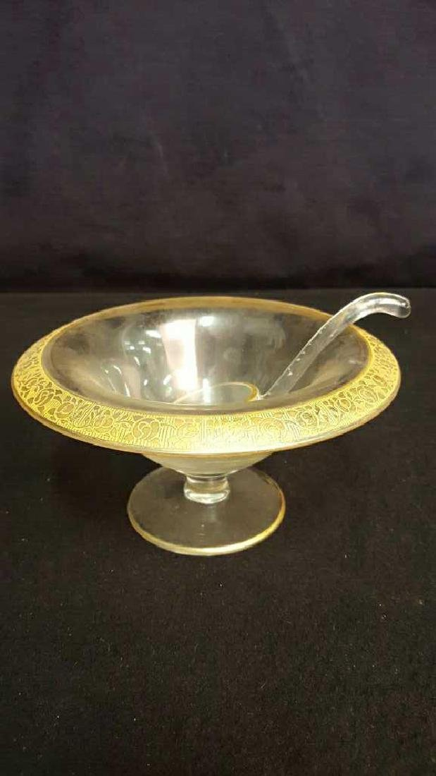 Gold Trim Serving Bowl and Dish - 2