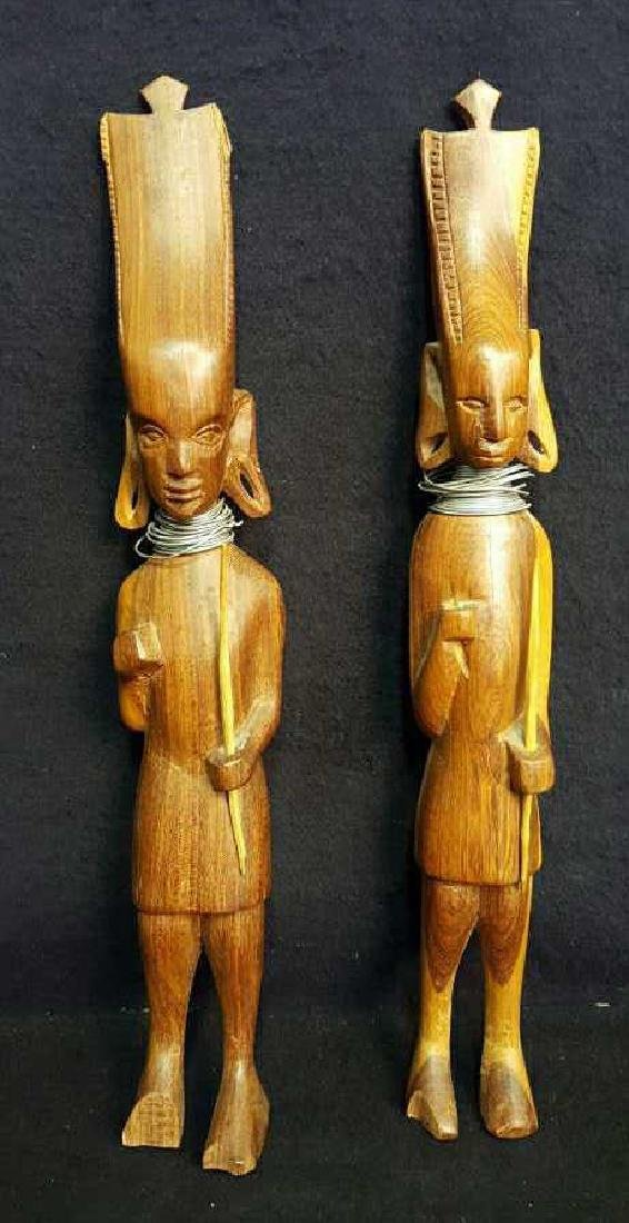 Pair of Wooden Male Statues
