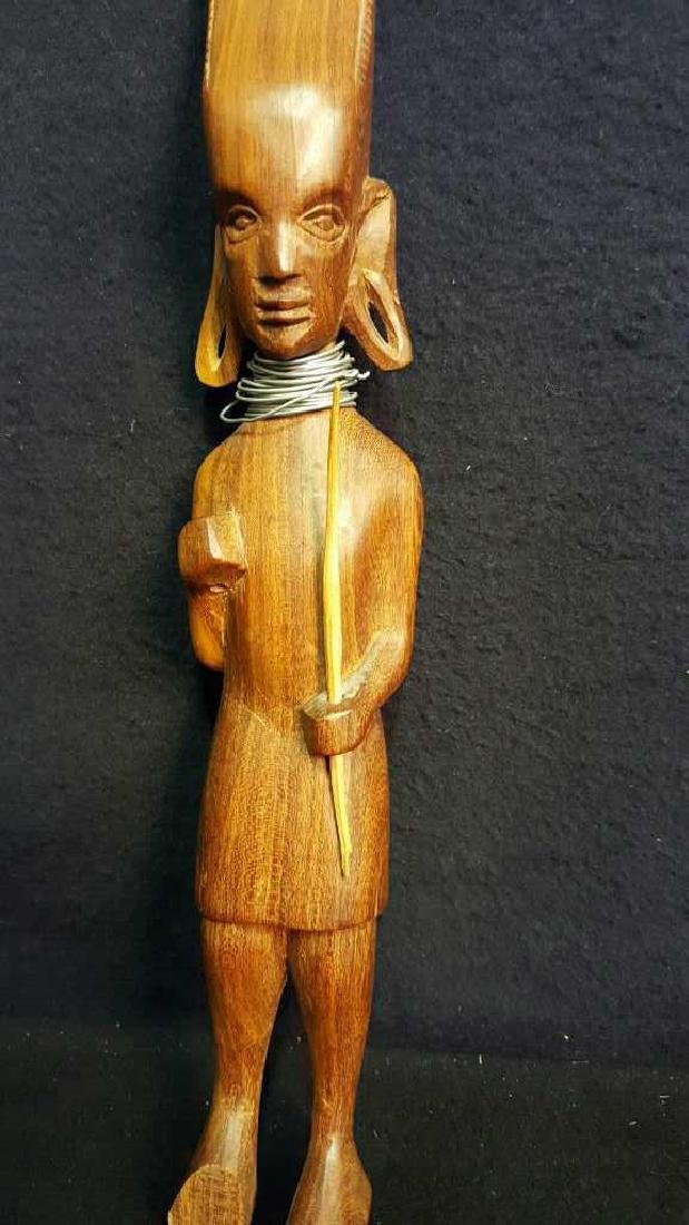 Pair of Wooden Male Statues - 8