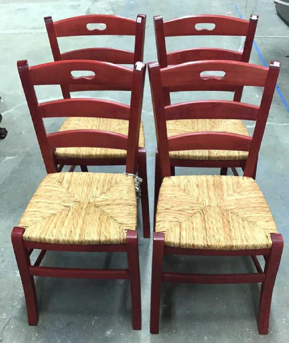 4 Piece Set Red Country Style Side Chairs