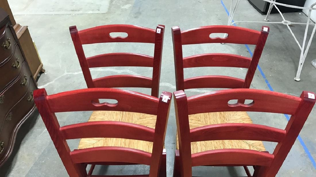 4 Piece Set Red Country Style Side Chairs - 2