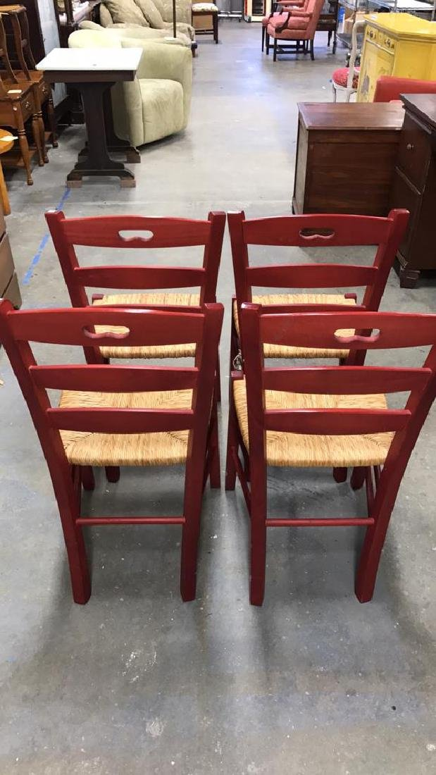 4 Piece Set Red Country Style Side Chairs - 4
