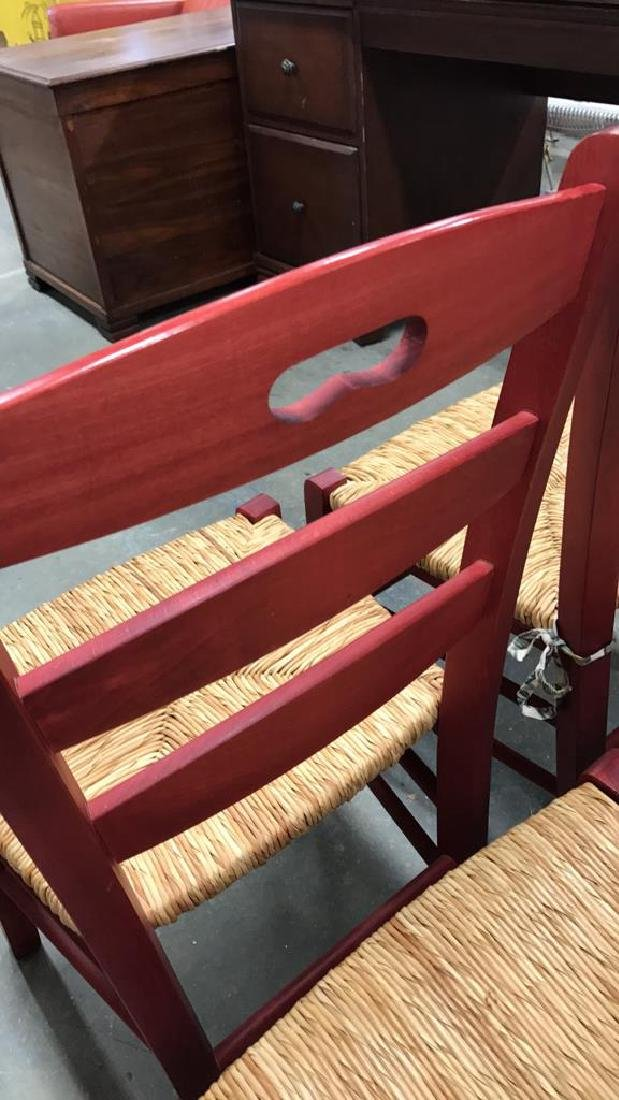 4 Piece Set Red Country Style Side Chairs - 5