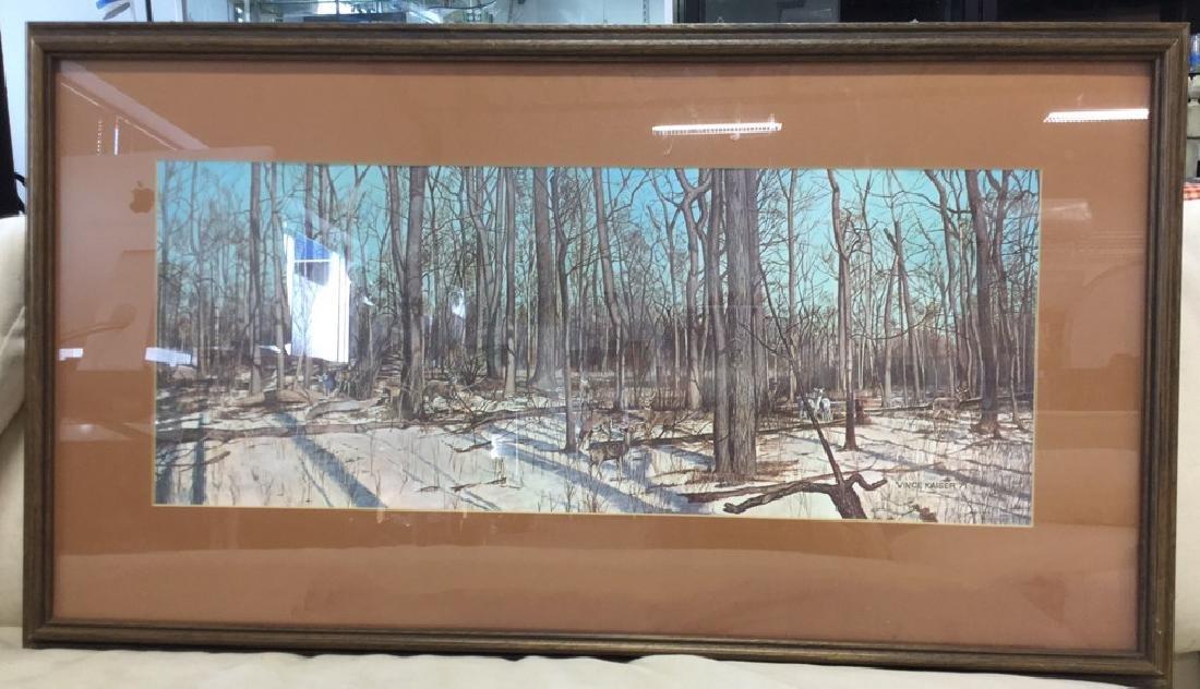 Framed Print Deer In Woods Wood framed and matted print