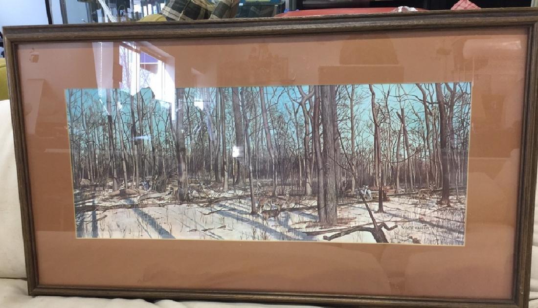 Framed Print Deer In Woods Wood framed and matted print - 2