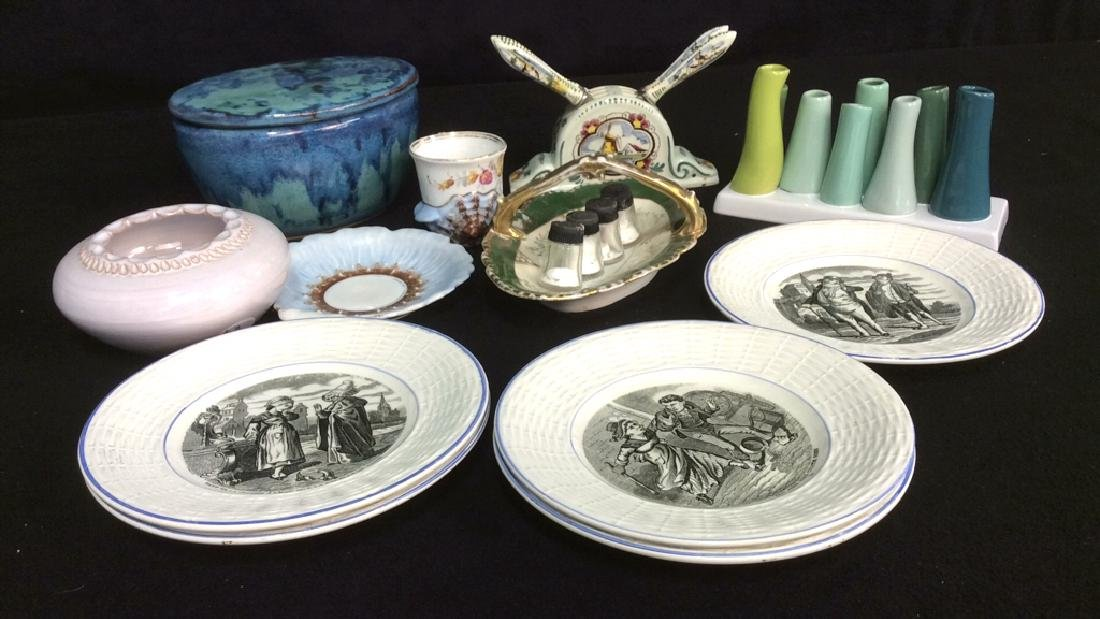 15 Group Pottery Porcelain Tabletop Items Group