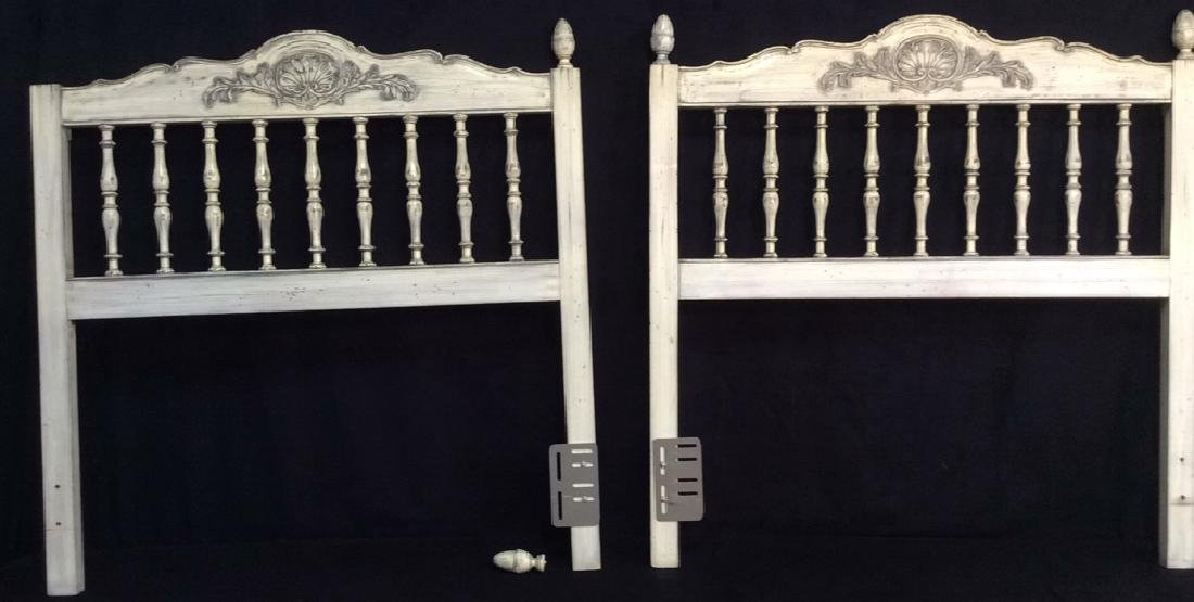 Pair White Washed Wood Twin Headboards Pair of country