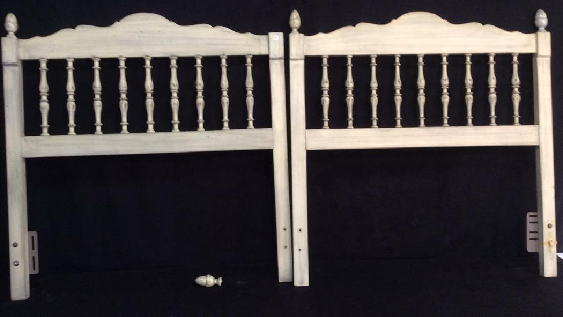 Pair White Washed Wood Twin Headboards Pair of country - 5