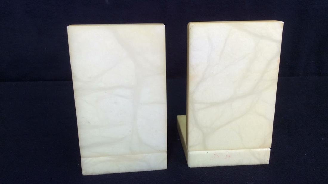 Pair Italian Yellow Alabaster Book Ends Vintage book - 3