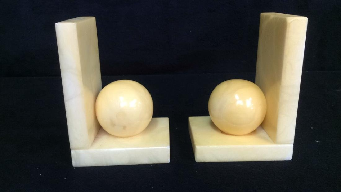 Pair Italian Yellow Alabaster Book Ends Vintage book - 4
