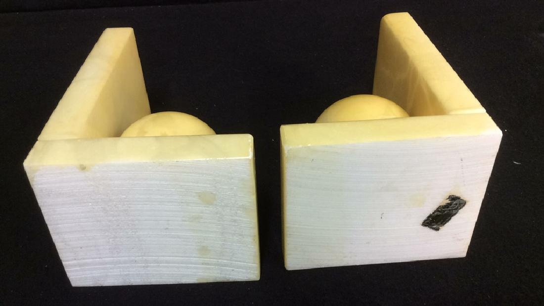 Pair Italian Yellow Alabaster Book Ends Vintage book - 6