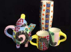 Signed Painted Pottery Lot Whimsical swirl and