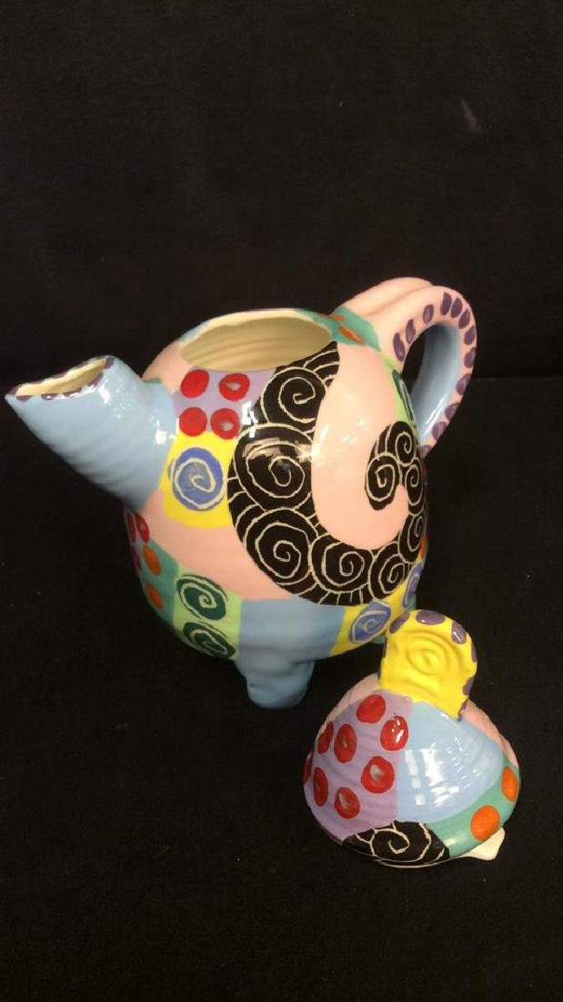 Signed Painted Pottery Lot Whimsical swirl and - 3