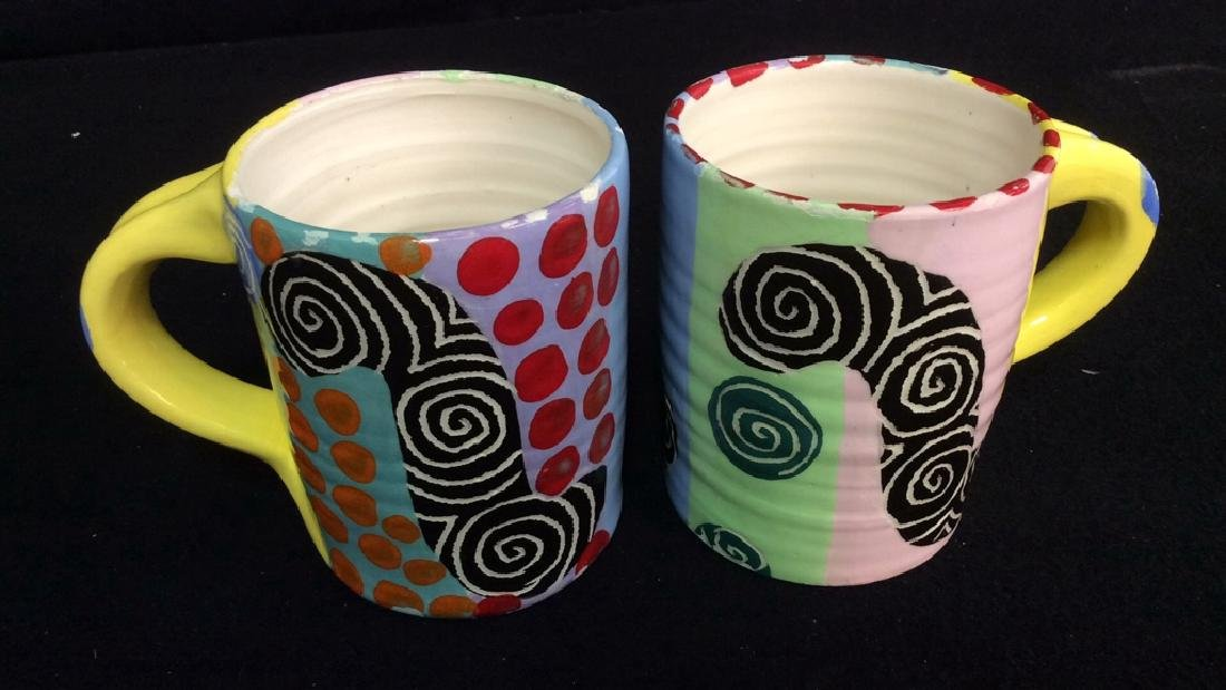 Signed Painted Pottery Lot Whimsical swirl and - 7